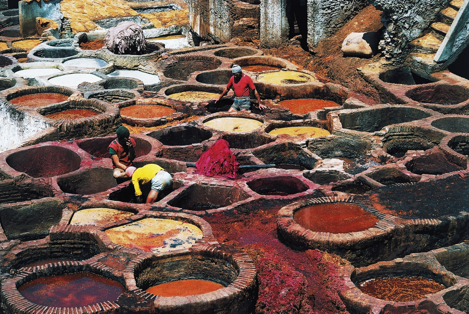 Men working at leather tanning, Fes