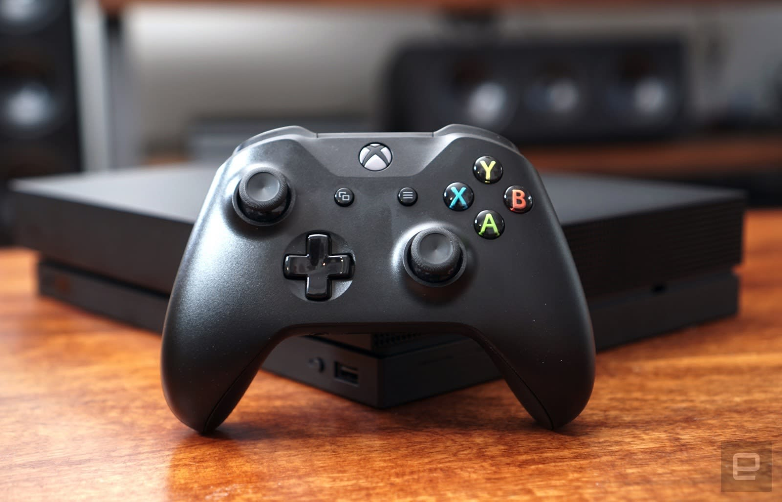 Xbox Wireless Controller in front of an Xbox One X