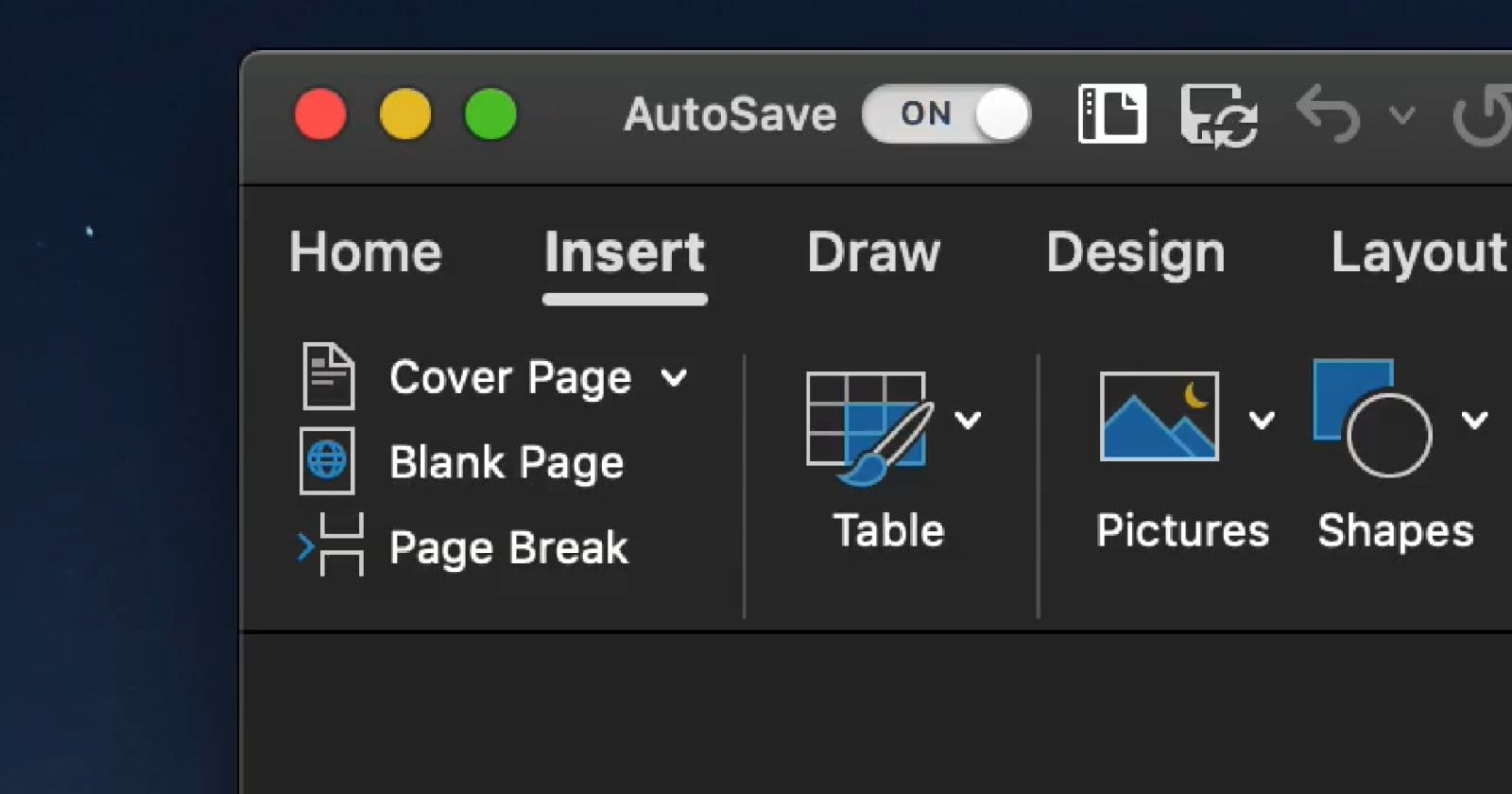 Office dark mode for MacOS Mojava