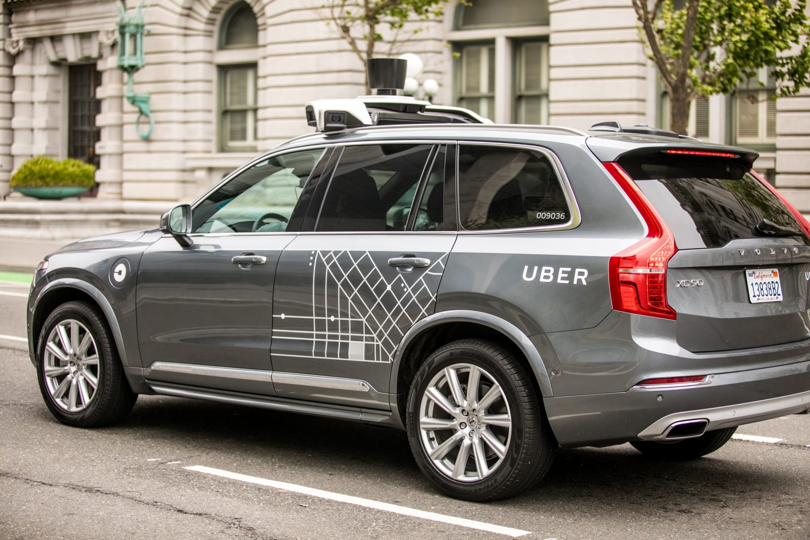 San Francisco, California, USA - May 16, 2017: An Uber self-driving Volvo XC90 SUV on 7th street and Market part of Uber's testi