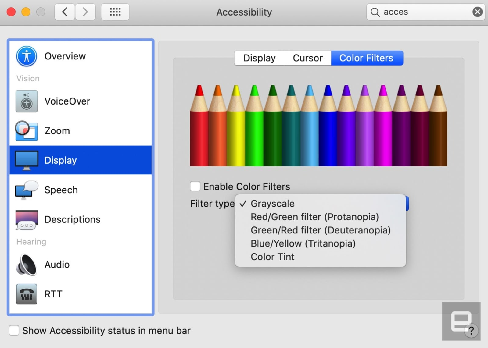 Color filters in macOS Catalina