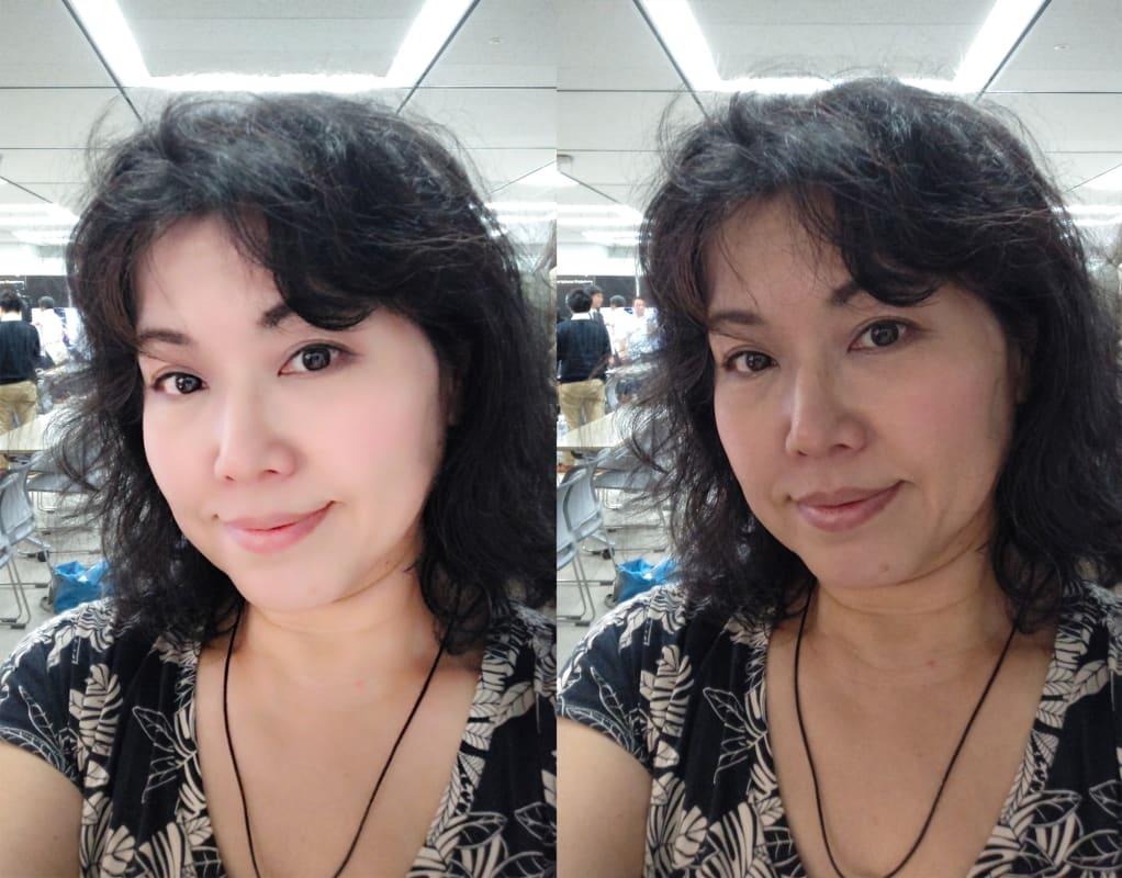AQUOS R3での「AQUOS Beauty」。左があり、右がなし