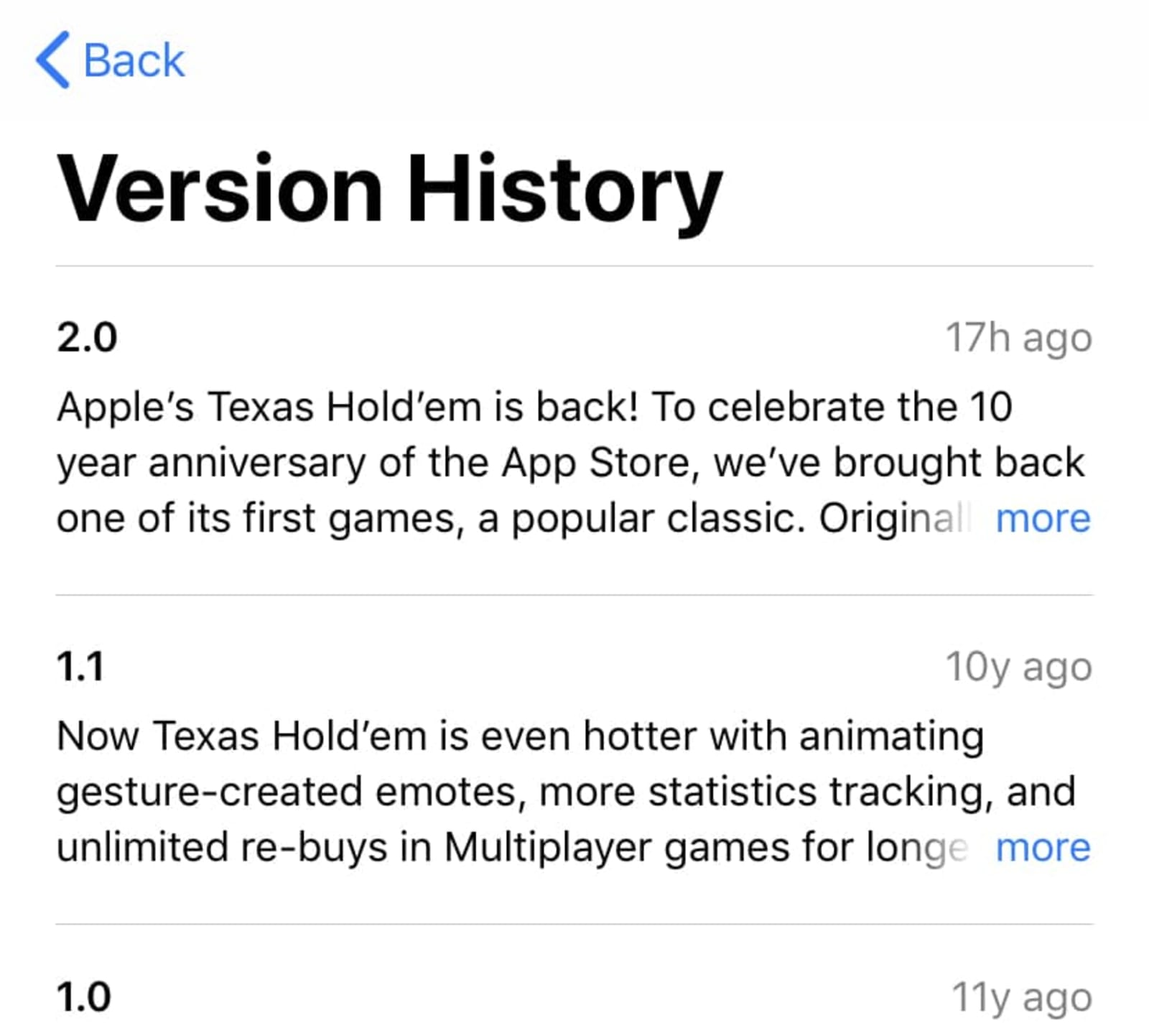 Texas Hold'em App Store version history