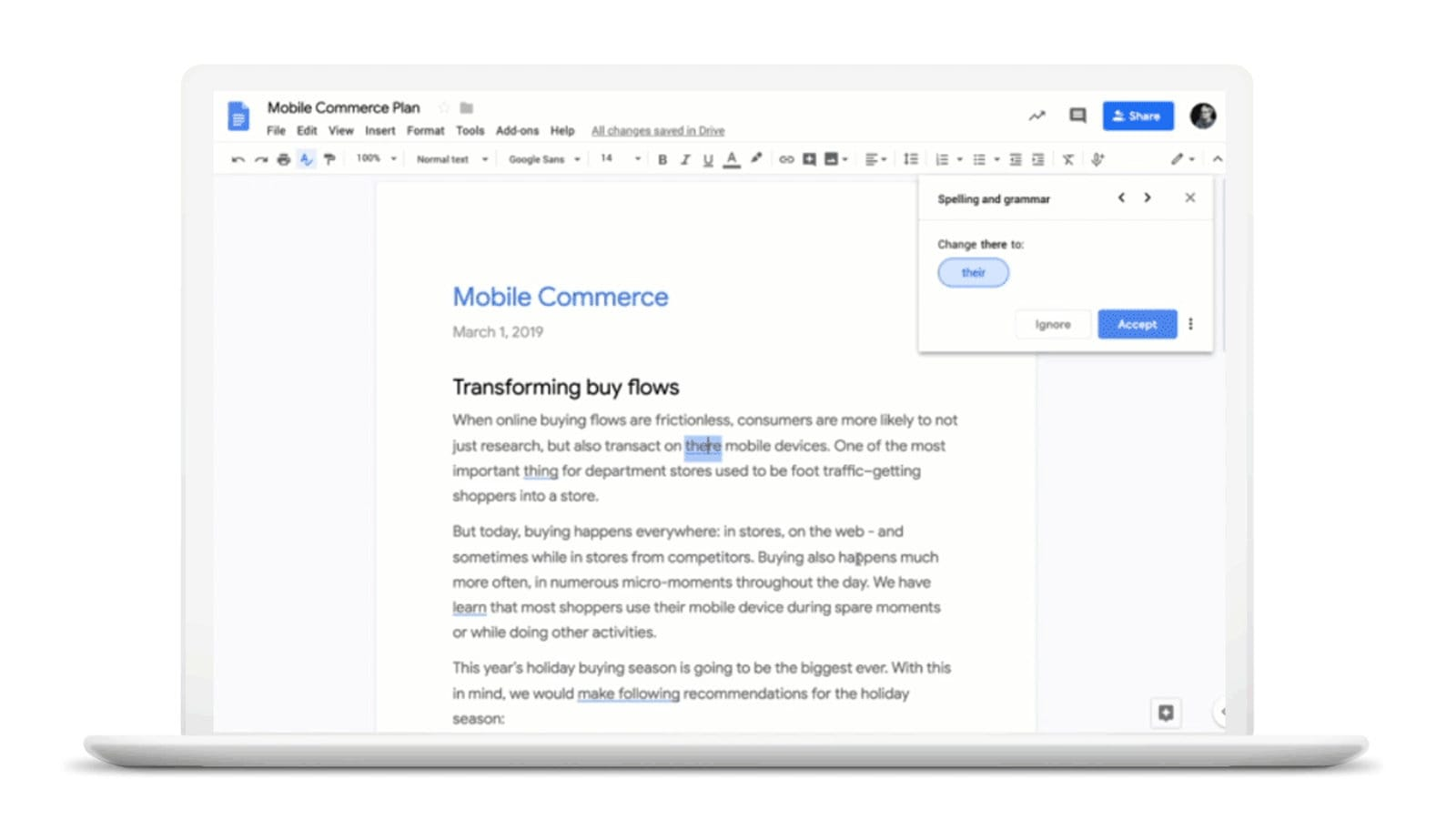 Google Docs AI grammar checker