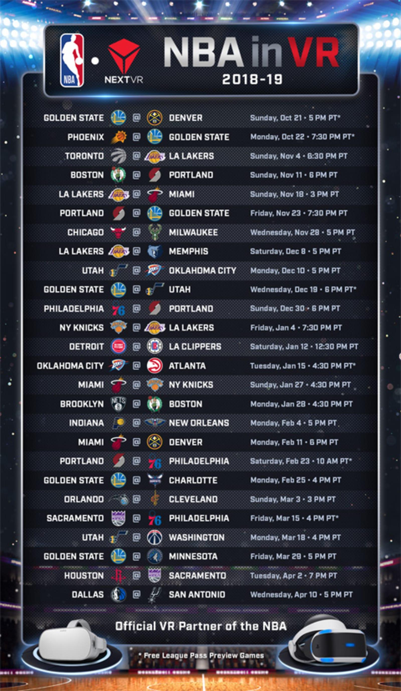 NBA League Pass 2018-2019 VR schedule