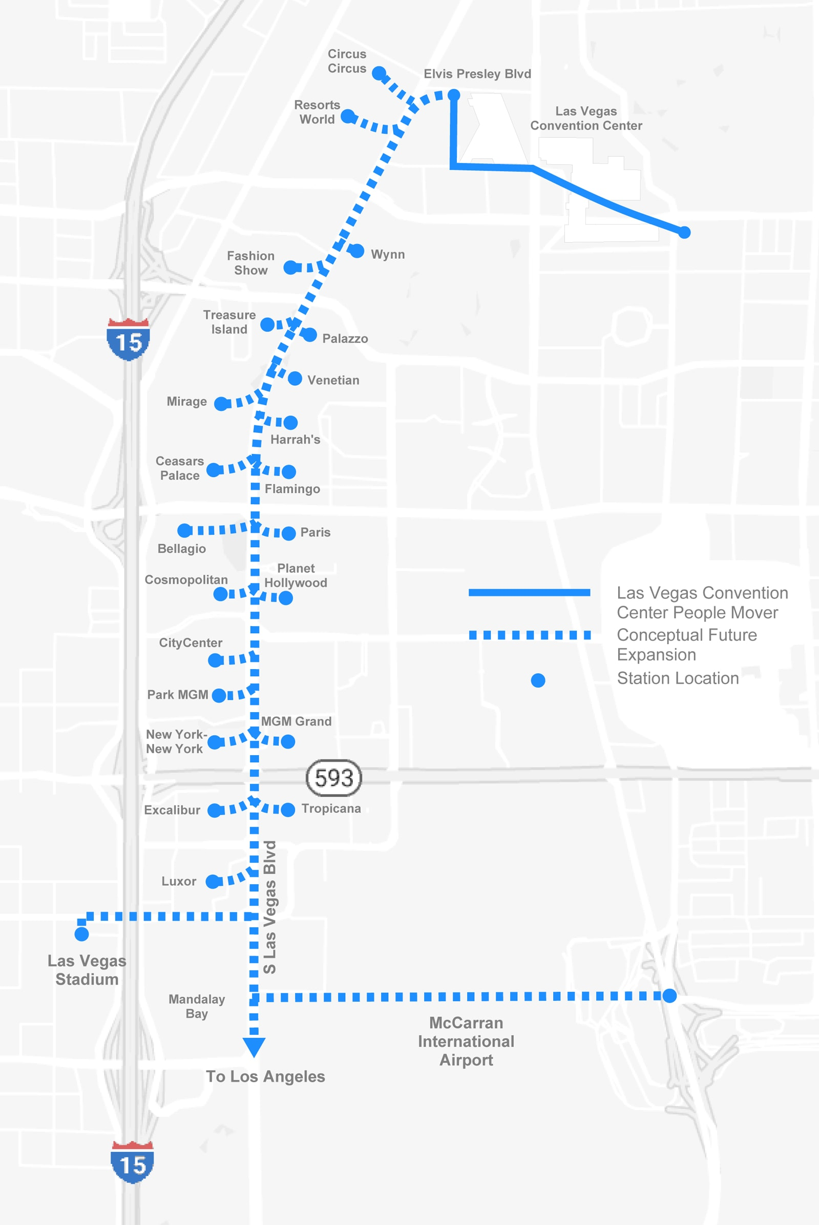 Proposed Boring Company tunnel route for Las Vegas
