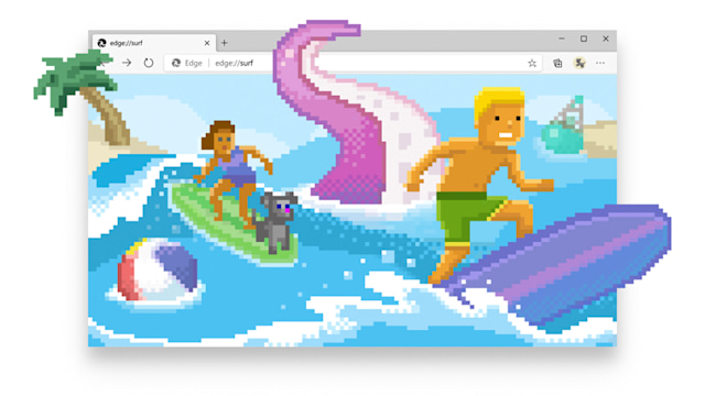 Microsoft Edge's 'Surf' mini-game