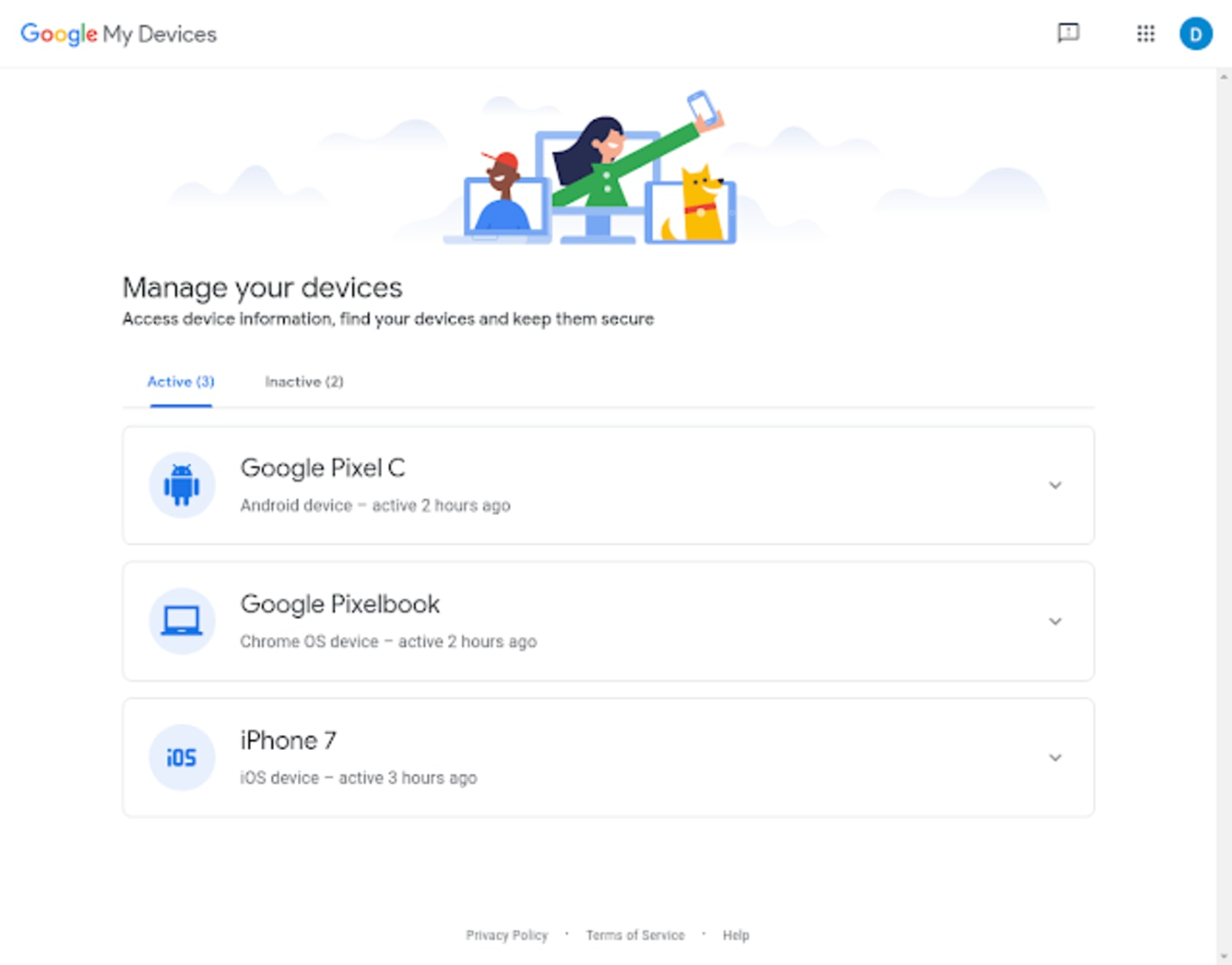 Google manage my devices