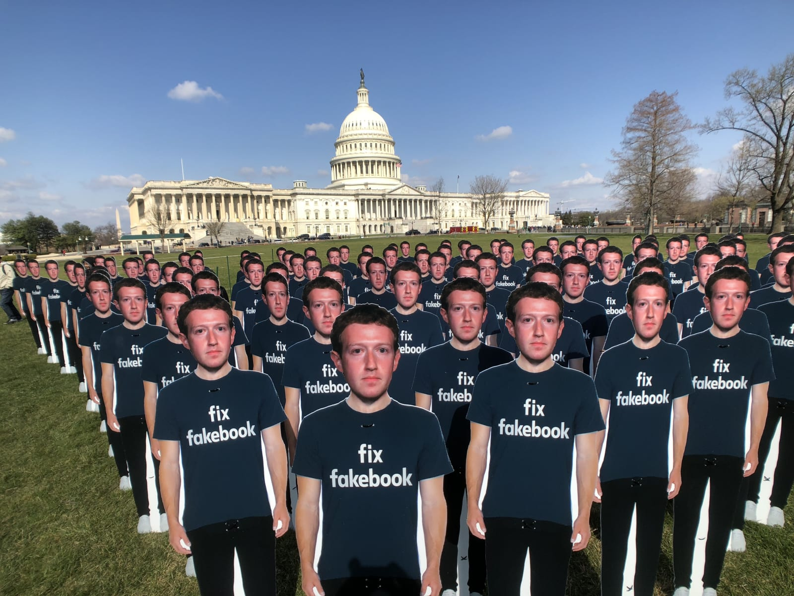 WASHINGTON DC - APRIL 10, 2018 One hundred cut outs of Facebook