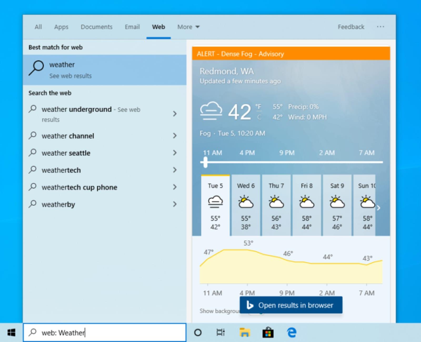 Windows 10 search preview