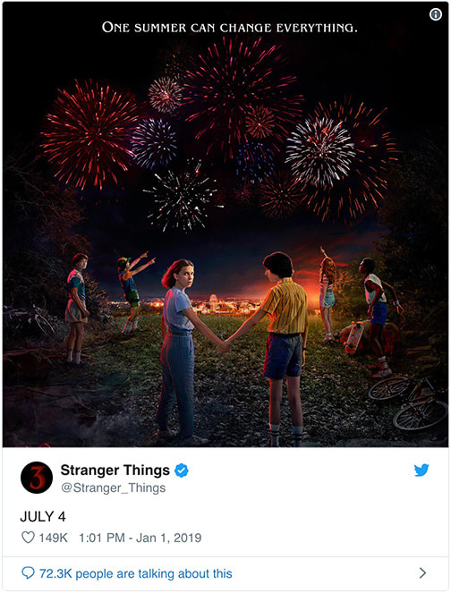 Stranger Things 3 on Netflix's Twitter page