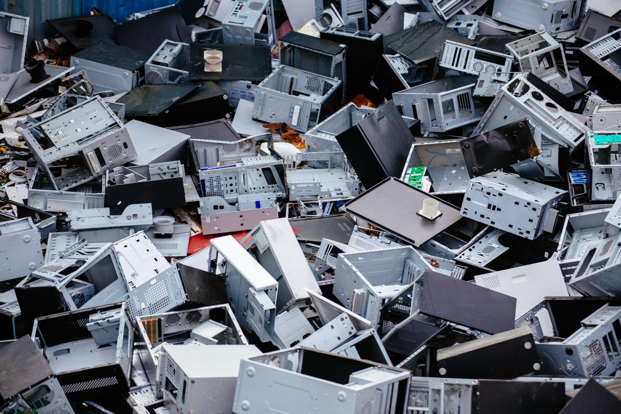 Scrap metal, iron and computer dump for recycling or safe disposal. Ulsan, South Korea.