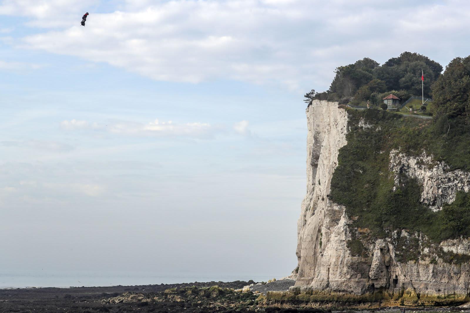 APTOPIX Britain France Flying Man