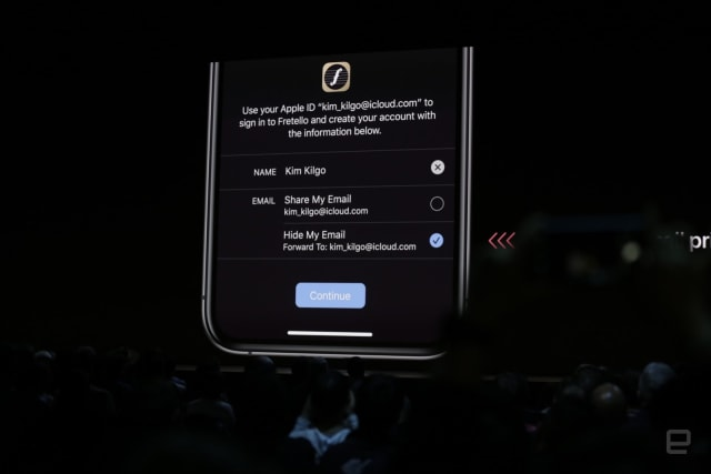 'Sign in with Apple' example at WWDC 2019