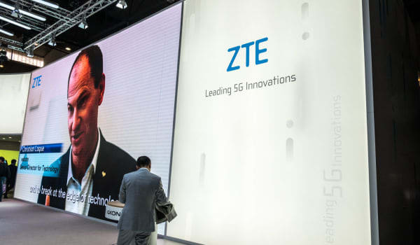 BARCELONA, CATALONIA, SPAIN - 2018/02/27: ZTE Logo seen at the event. The Mobile World Congress held in Barcelona, Spain, since 2006 and will be held until the year 2023. It is an annual conference around the world of mobile communication. Congress exhibited technologies such as Virtual reality, augmented reality, artificial intelligence, robotics, Drones, Hardware, Software and Robocar. (Photo by Paco Freire/SOPA Images/LightRocket via Getty Images)