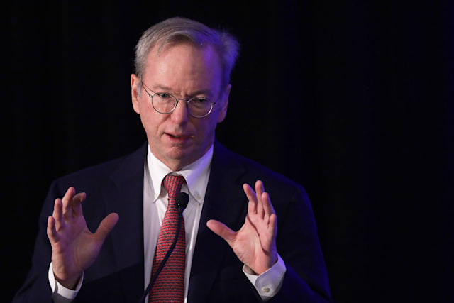 "WASHINGTON, DC - NOVEMBER 05:  Executive Chairman of Alphabet Inc., Google's parent company, Eric Schmidt speaks during a National Security Commission on Artificial Intelligence (NSCAI) conference November 5, 2019 in Washington, DC. The commission on Artificial Intelligence held a conference on ""Strength Through Innovation: The Future of A.I. and U.S. National Security.""  (Photo by Alex Wong/Getty Images)"