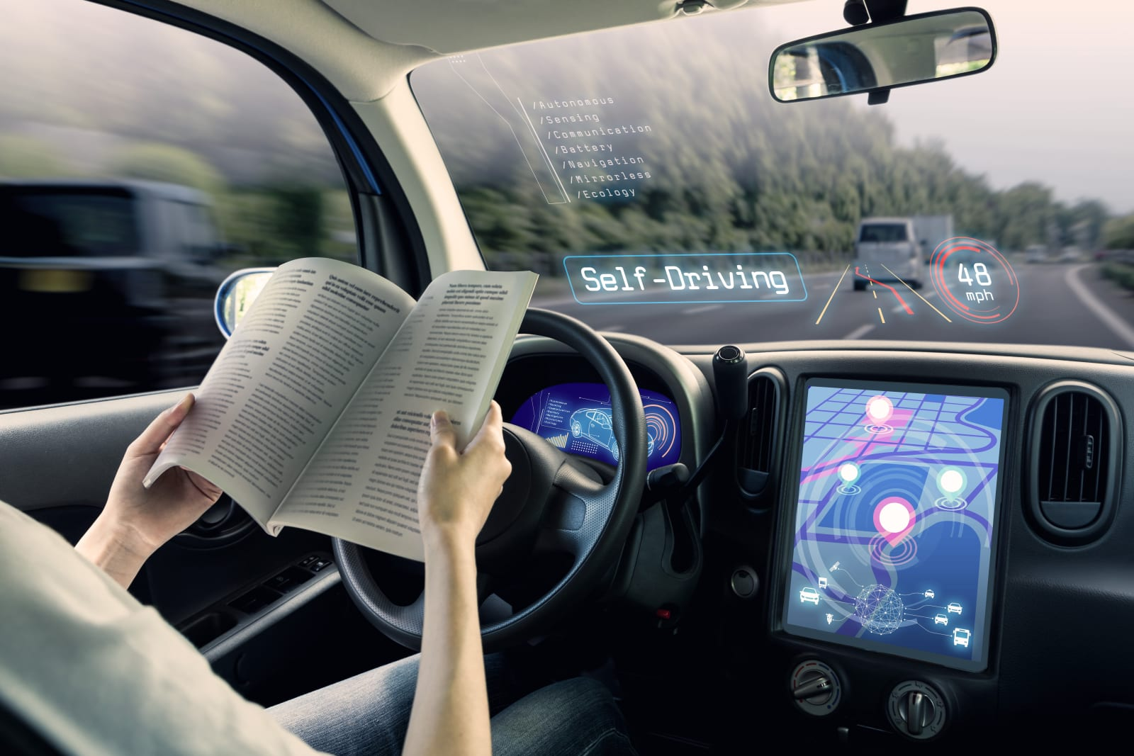 cockpit of autonomous car. a vehicle running self driving mode and a woman driver reading book.