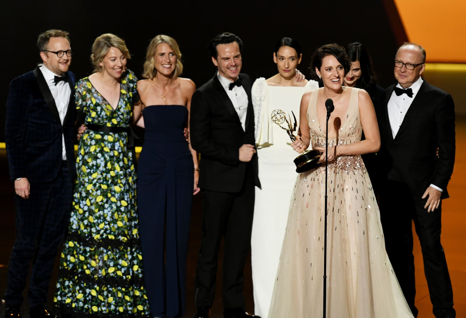 Phoebe Waller-Bridge (speaking) and fellow cast and crew members of 'Fleabag' accept the Outstanding Comedy Series award onstage during the 71st Emmy Awards at Microsoft Theater
