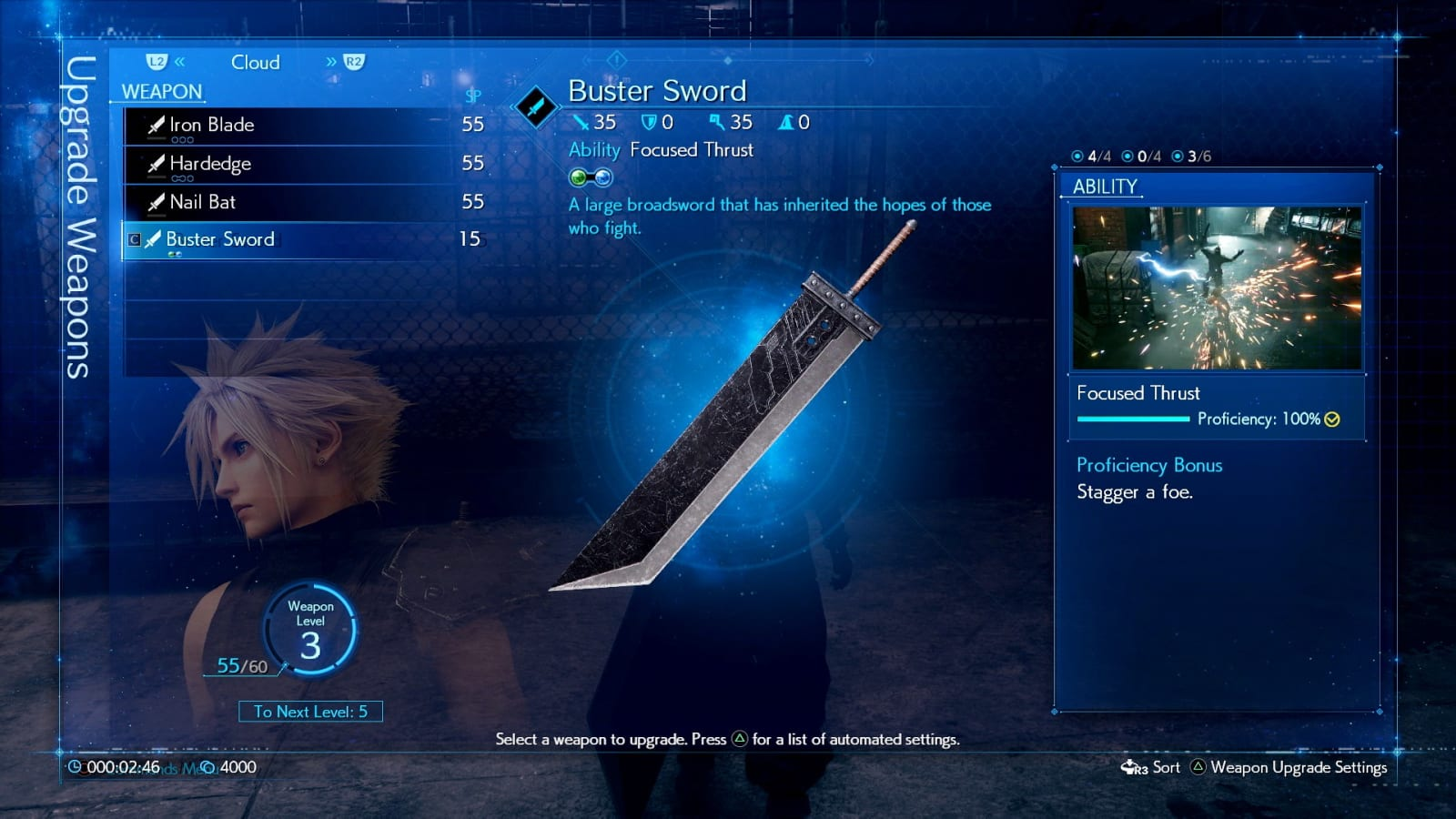 Final Fantasy VII remake new weapons interface