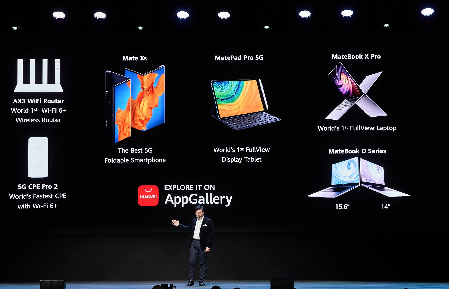 Huawei Consumer BG CEO Richard Yu presenting new products