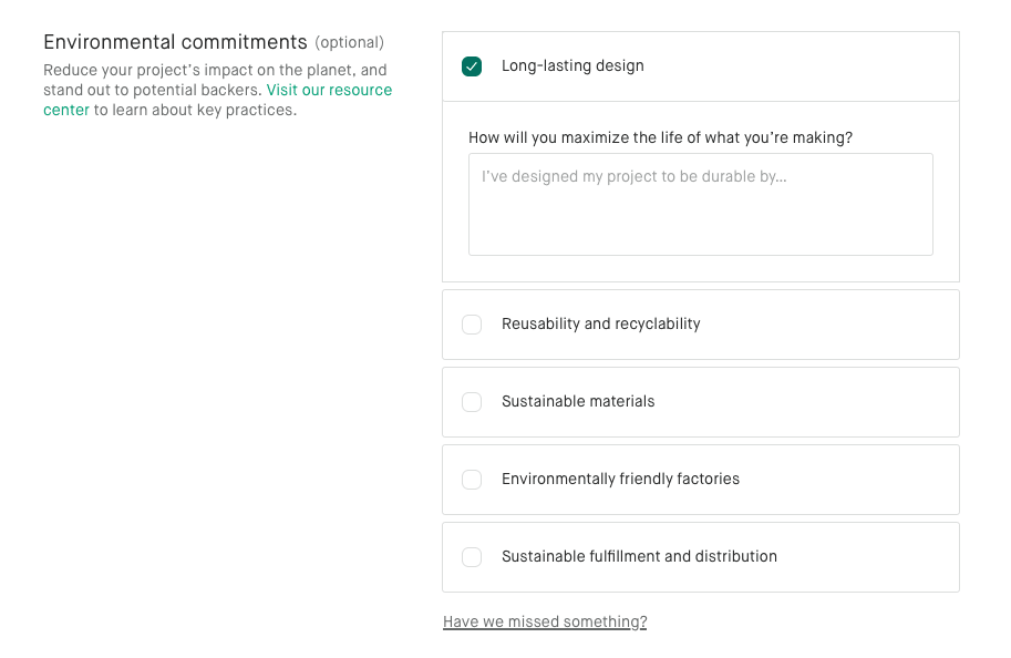 Kickstarter Environmental Commitments