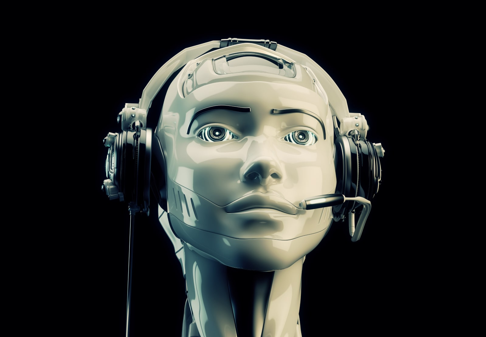 Close-up of emulation robotic operator with headset
