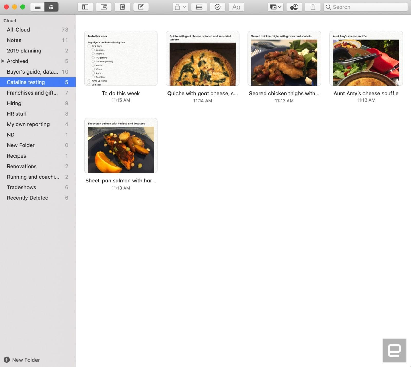 Notes app in macOS Catalina