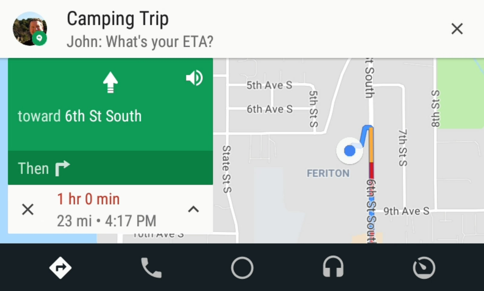 Message previews on Android Auto