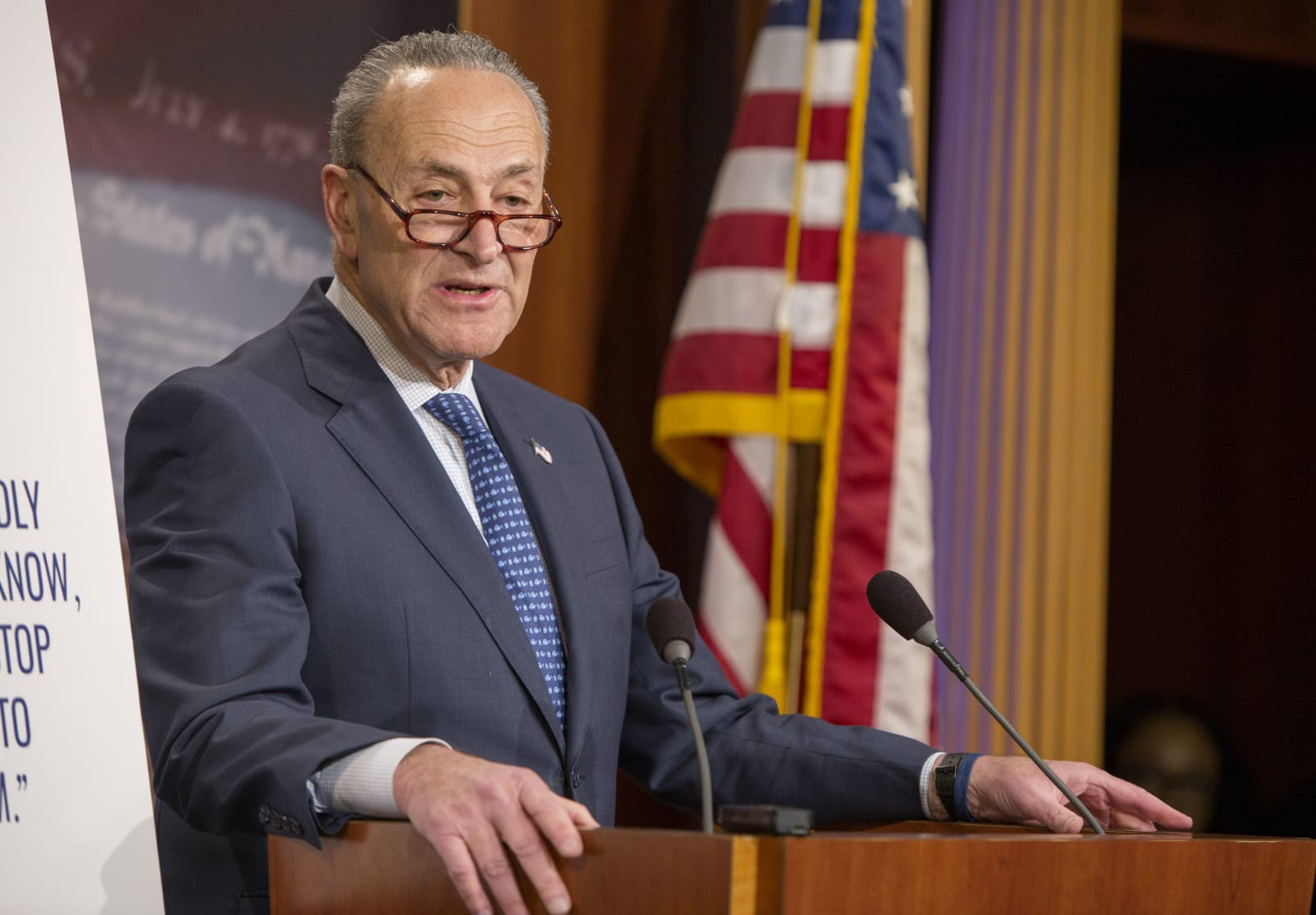 Senate Democratic Leader Sen. Chuck Schumer (D-NY) Urges GOP To Slow Down Republican Tax Bill In Senate
