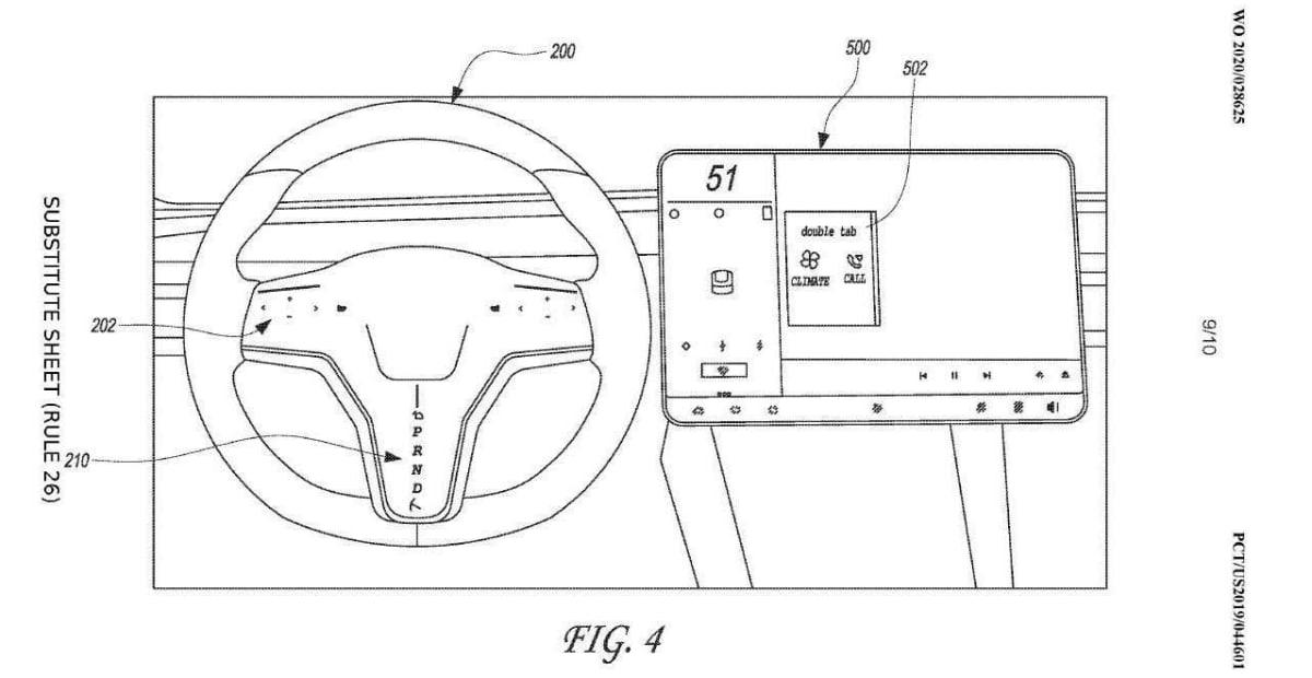 Tesla steering wheel patent