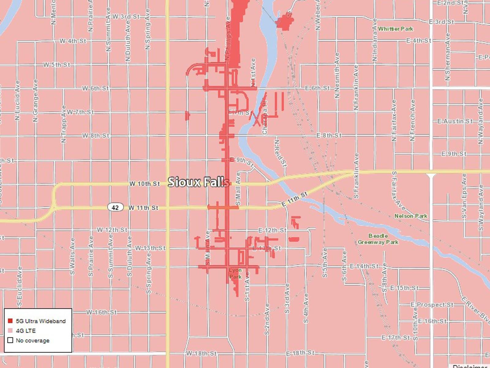 Verizon Sioux Falls 5G coverage map