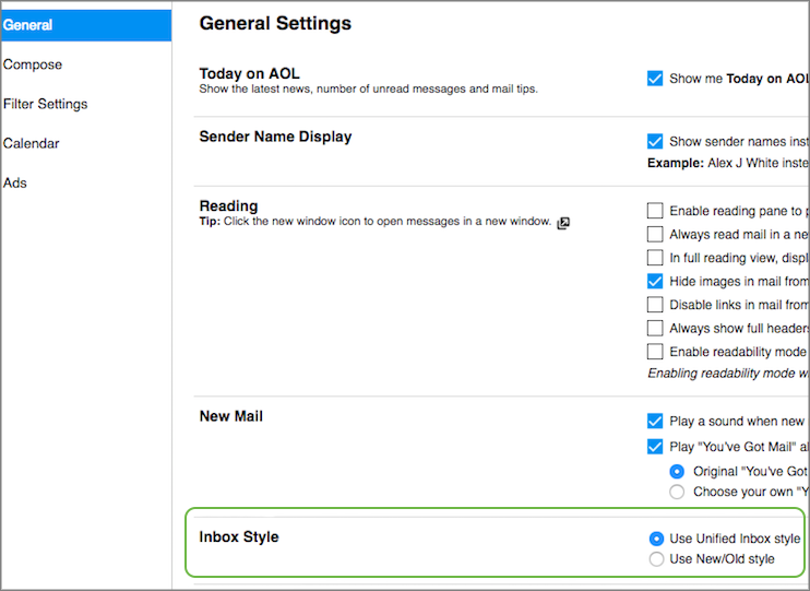 Image of the Inbox Style setting.