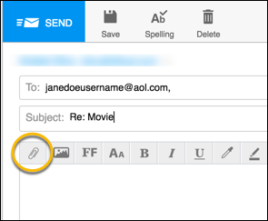 attachment in aol mail
