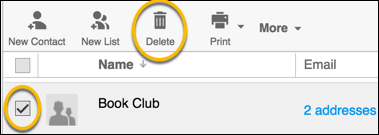 delete list button