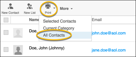 print all contacts