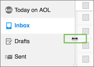 Image of the panel resize arrow in AOL Mail.