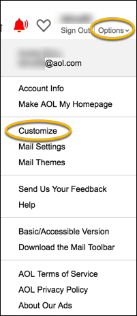 customize AOL Mail