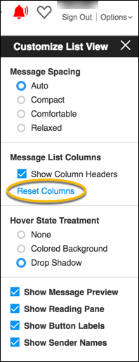 reset columns