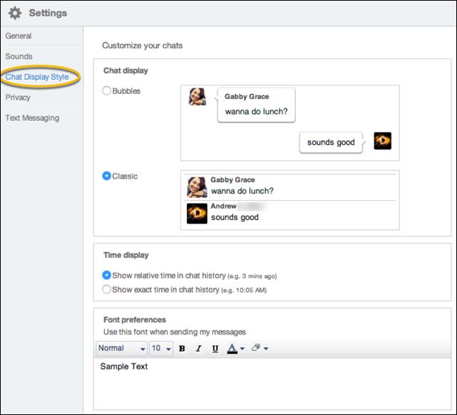 aim 8 chat settings