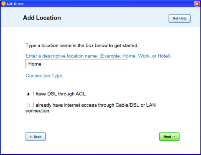 Add location screen