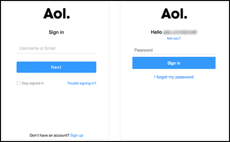 Image showing screens for each sign-in step.