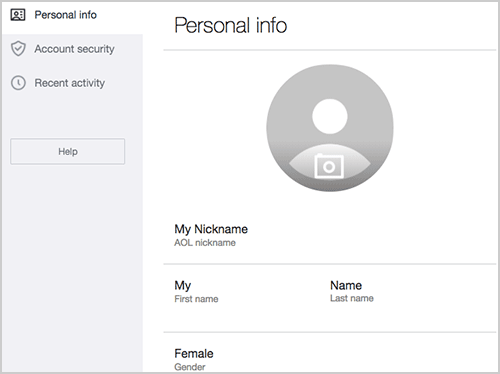 Image of the account settings page opened to the personal info section.