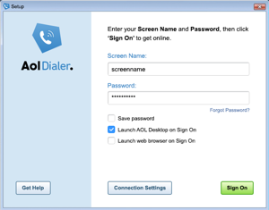 Image of the AOL Dialer main screen.