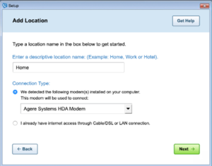 Image of the 'Add location' screen in AOL Dialer.
