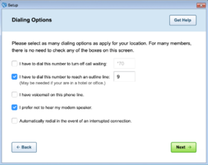Image of the 'Dialing options' screen in AOL Dialer.