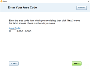Image of the 'Enter your area code' screen in AOL Dialer.