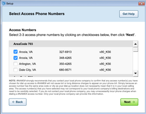 Image of the 'Select access phone numbers' screen in AOL Dialer.