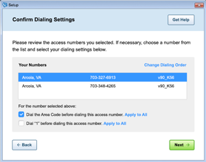 Image of the 'Confirm Dialing' screen in AOL Dialer.