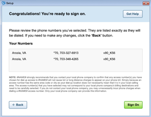 Image of the 'congratulations' screen in AOL Dialer.