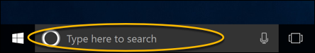 picture showing the search box found on Windows 10
